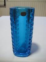 Bohémia , művészi üveg váza  csiszolt szép munka 90 200 mm