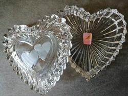 Szív alakú ólomkristály fedeles ékszertartó doboz