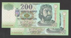 """200 forint 2003. """"FC"""".  2 db sorszámkövető!!  UNC!!"""