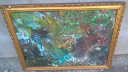 Szép absztrakt festmény (89*70 cm keret) Kokas I. (?)