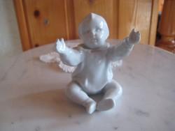 Zsolnay , sinkó  fehér    gyermek figura , pajzspecsétes