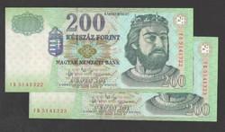 """200 forint 2003. """"FB"""" ! 2 db sorszám követő! UNC !"""