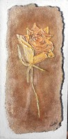 Aranysárga rózsa. Parafára domborított kép. 25x12,5 cm-es. Károlyfi Zsófia Prima díjas alkotótól.