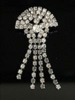 Bross csillogó csiszolt kristályokkal, 7 x 3,5 cm!