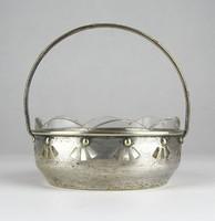 0X146 Régi ezüstözött üvegbetétes réz kosár kínáló