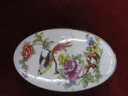 Hollóházi porcelán bonbonier, madaras mintával, hossza 15 cm, ovális.