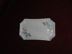Hollóházi porcelán ékszertartó tálka, mérte 15 x 8,5 cm, kék virágmintás.