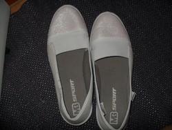 c8e82b54ef72 41-es csillogó fehér vászon cipő gumi talpú újszerű egyszer hordott  alkalomra ...