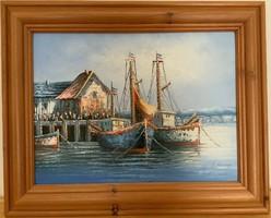 Olajfestmény Hajók