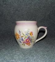 Hollóházi porcelán virágcsokros csupor 1 liter, 14 cm (14/d)