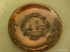 Bronz súlyos miniatűr fali tál tájkép mintadarab eladó 8.5 cm