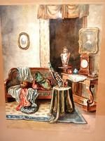 Antik gyönyörű enteriőr festmény