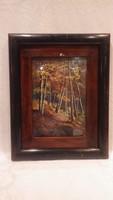 Antik jelzett olaj-vászon erdőbelső festmény