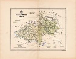 Csanád megye térkép 1889 (2), Magyarország, vármegye, régi, atlasz, eredeti, Kogutowicz Manó, Gönczy