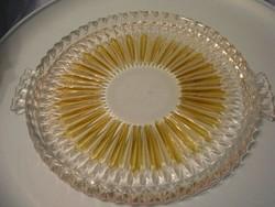 U12 Borostyán színű l díszes  tortatál 30-cm-es hibátlan