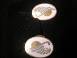 ANTIK Arany Bevonatú Zománc Díszítéssel Mandzsetta Gomb ajándékozhatóan