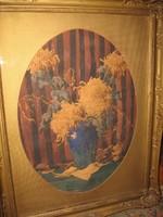 KIÁRUSÍTÁS ! MONUMENTÁLIS  EREDETI KOMÁROMI KACZ ENDRÉNÉ / 1883-/ KÉP :VIRÁGCSENDÉLET 118 cm x 93 cm
