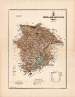 Gömör és Kis - Hont megye térkép 1889 (2), vármegye, atlasz, Kogutowicz Manó, 44 x 56 cm, Gönczy Pál