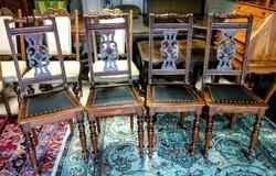 Faragott, bőrborítású 4 db szék