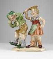 0X131 Régi Bertram porcelán gyerek pár figura