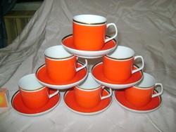 Retro Hollóházi kávéskészlet - hat személyes - piros, arany szegélyes