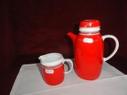 Hollóházi porcelán piros színű kávékiöntő  és tejkiöntő