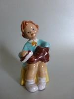 Ritka,aranyos,kerámia cipőpucoló kislány;kerámia figura,retró kerámia