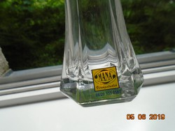 """""""Mana""""Virágstúdió modern vonalú,újszerű,címkés vastag talpú üveg váza-15,3 cm"""