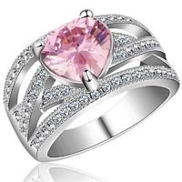 Gyűrű rózsaszín szívvel 7-es ÚJ!