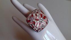 Hatalmas,káprázatos,tűzzománcos ezüst gyűrű