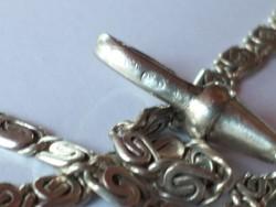 Antik ezüst zsebóra lánc fehéramás részére