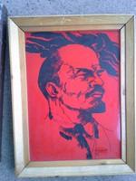 CZINKE FERENC  tűzzománc Lenin kép