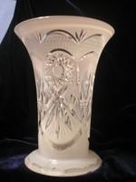 Antik biedermeier  Opál üveg csiszolt kristály váza többrétegű