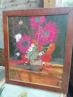 Színes virág csendélet olaj karton festmény