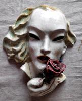 Art deco kerámia női fej rózsával