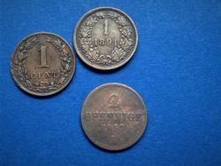 1859 2 Pfennige 1878 1 cent 1891 1 krajcár 3 db-os régi pénz sor