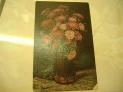 Névnapi jókívánság: érdekes festmény hatású, használt képeslap: 1941. 500 Ft.