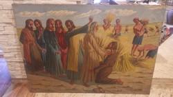 Jézus apostolokkal búzamezőn régi hatalmas olaj-vászon festmény 100x140 cm