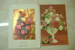 Anyák napi széthajtható/Rózsás szívvel széthajt., Két képeslap egyben: 500 Ft