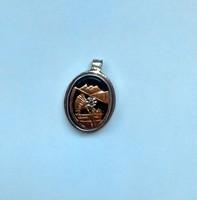 Antique Medal-14K.arany-gyemant-Onyx-ezust foglalat