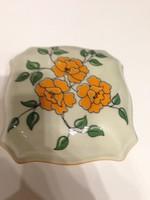 Zsolnay virág mintás,porcelán bonbonier