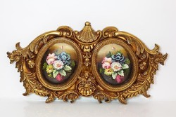 2 Paintings, Floral Still Life with Exclusive Oil Painting and Luxury Baroque Antique Gold Frame