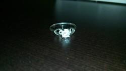 Jelzett Ródiumozott Ezüst Köves Gyűrű