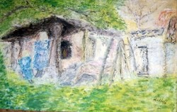 Halápy János : Hátsó kert. Pasztell kép papír.
