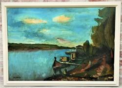 Hatalmas 110x80cm id. Benedek Jenő (1906-1987) Hajók a Tiszán c Képcsarnokos olajfestménye EREDETI