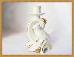 Német porcelán gyertyatartó madár dísszel