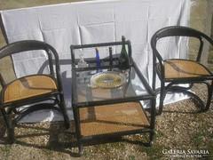 U12 Thonet stílusú guruló lábas szervírozó asztal ,+ 2 fotel ritkaság (Otto Wagner ??)