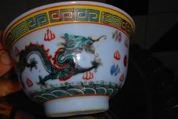 Kínai sárkány motívummal kézzel festett  rizses tál