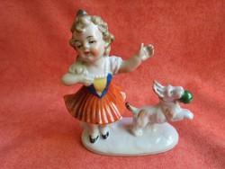 Germany porcelán kislány figura kutyussal