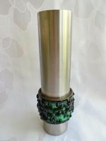 Iparművészeti fém váza tűzzománc díszítéssel